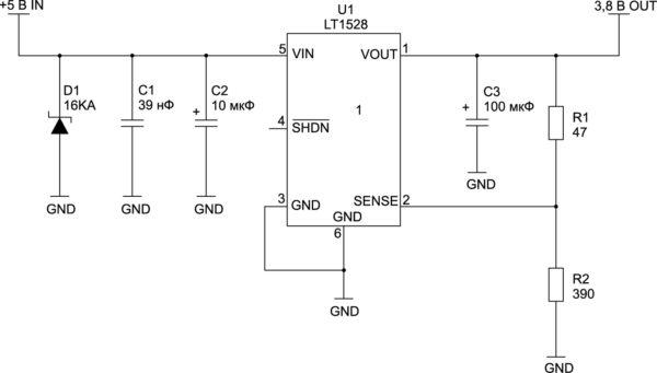 Типовая схема питания модуля от 5 В