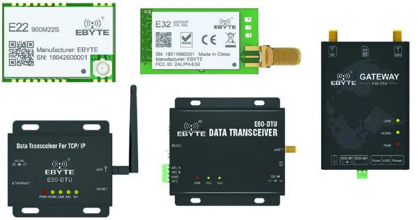 Типовые конструкции модулей LoRa компании EBYTE с разными типами интерфейсов