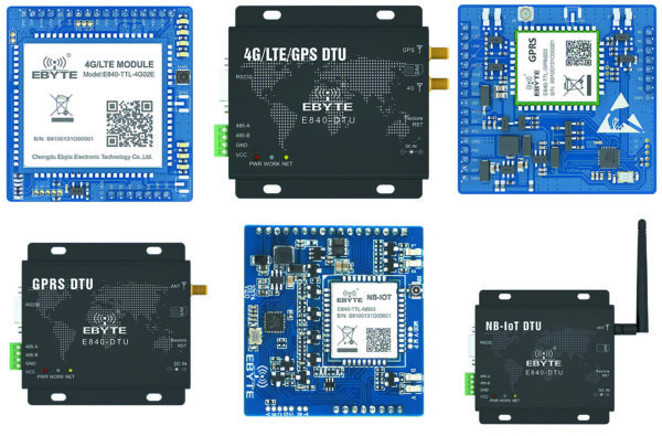 Типовые варианты исполнения модулей 4G/LTE, GPRS и NB-IoT компании EBYTE