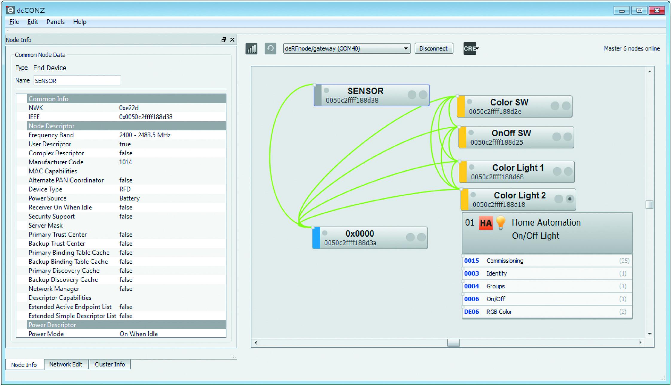 Графическое отображение ZigBee-узлов и логических связей между ними в программе deCONZ от компании Dresden Elektronik