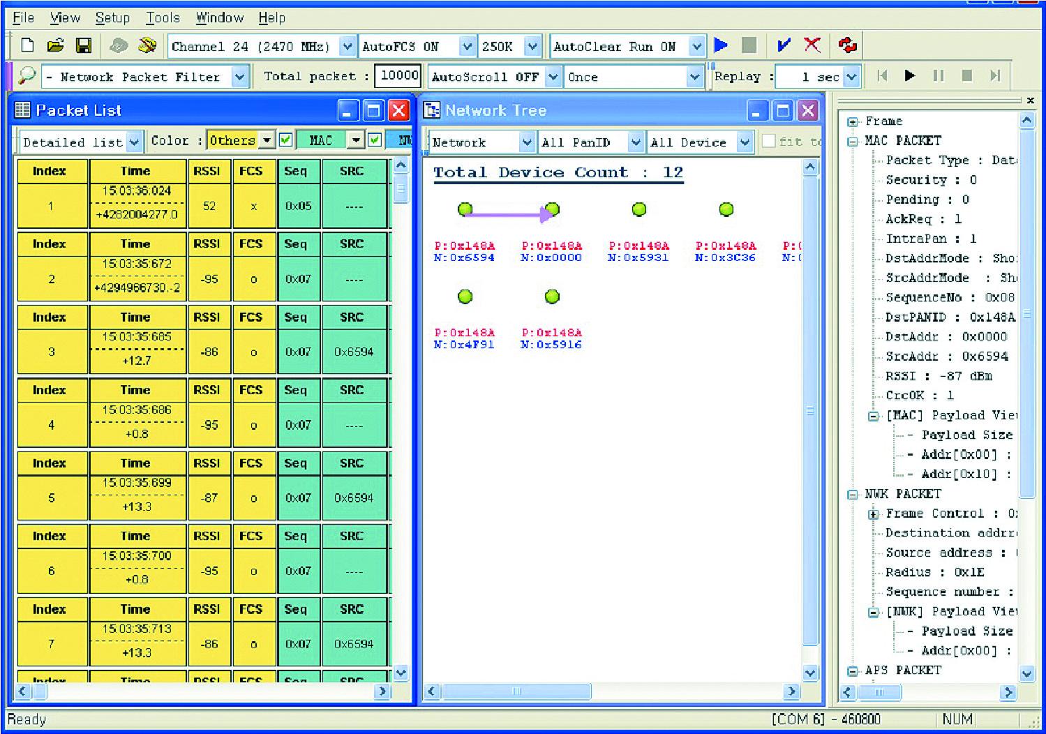 CEL Packet-Analyzer позволяет перехватывать, декодировать и фильтровать передаваемые по радиоканалу пакеты стандарта IEEE 802.15.4