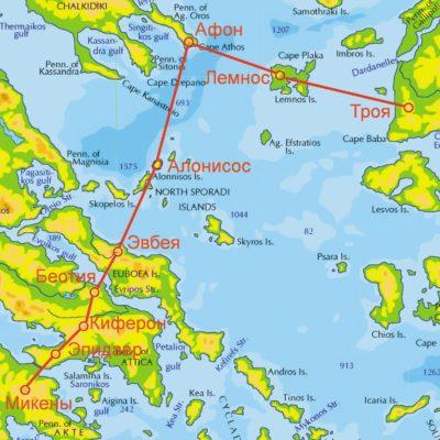 Линия светосигнальной связи Троя–Афон–Эвбея–Микены, около 1200 г. до н.э.