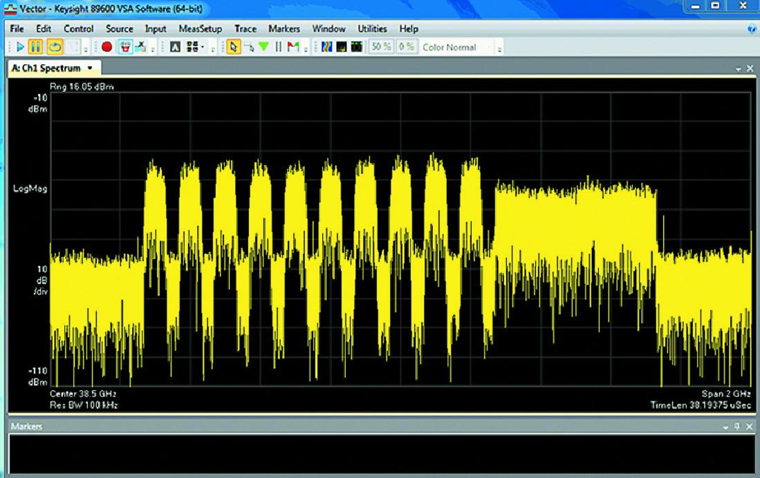 Результат моделирования в полосе частот 39 ГГц