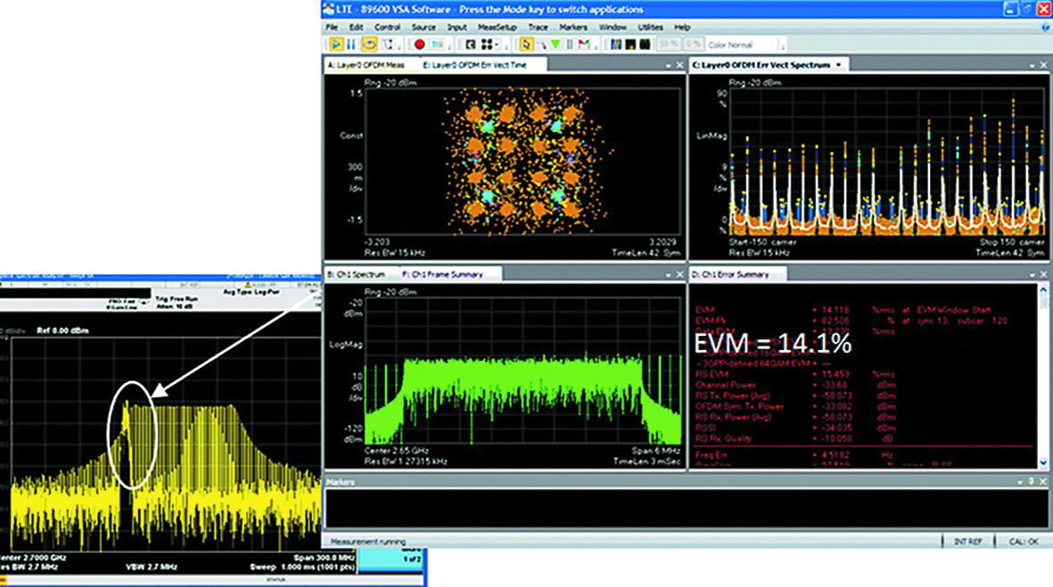 На дисплее 89600 VSA (справа) сигнальное созвездие (вверху слева) и график зависимости EVM от поднесущей (вверху справа) четко указывают на проблемы сосуществования, поскольку сигнал радара вторгается в сигнал LTE