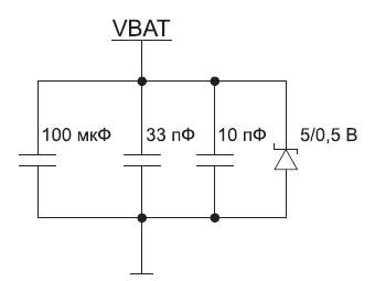 Элементы на шине питания модуля SIM800H