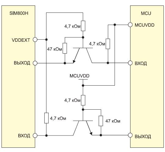 Согласование логических уровней между модулем SIM800H и управляющим микроконтроллером
