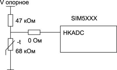 Схема включения АЦП для измерения температуры