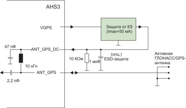 Вариант подключения активной ГЛОНАСС/GPS-антенны