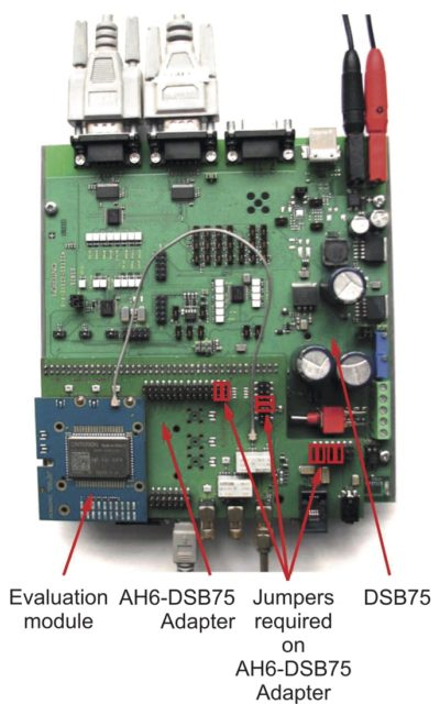 Внешний вид платы разработчика DSB75 Evaluation Kit с подключенным отладочным модулем EHS5 evaluation module