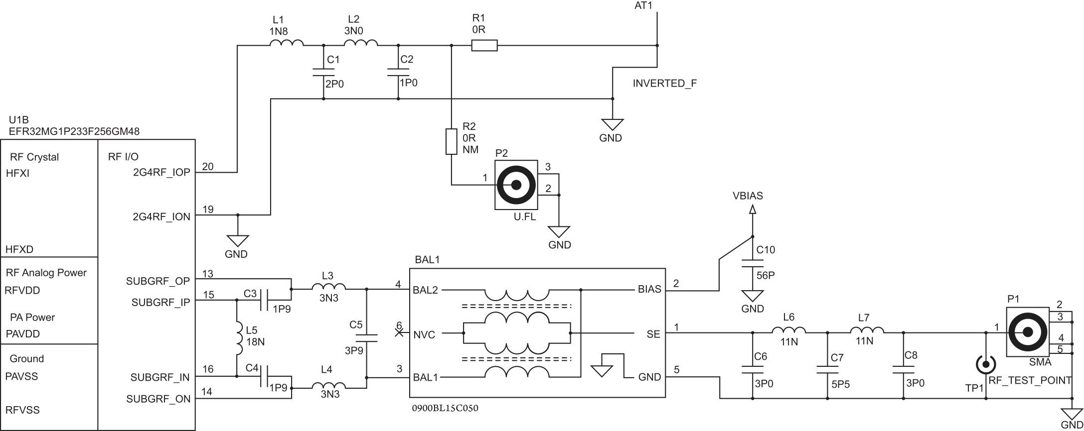 Пример схемы антенного интерфейса для двухдиапазонного устройства на базе EFR32 Wireless Gecko