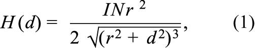 Напряженность магнитного поля можно охарактеризовать как функцию расстояния d от источника