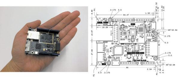 Базовая плата S5D9 комплекта AE-CLOUD2: а) в сравнении с рукой; б) физические размеры, мм