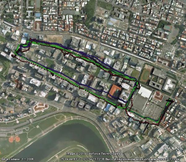 Траектории в трех режимах: GPS (синий), ГЛОНАСС (красный) и GPS+ГЛОНАСС (зеленый)