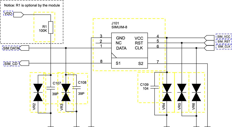 Схема подключения SIM-карты