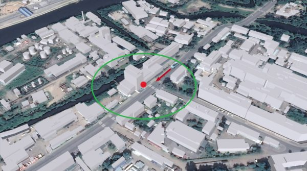 Геозона, заданная как круг с радиусом 100 м с центром в точке расположения офиса «МТ-Систем»