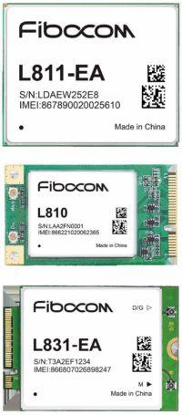 Рис. 2. LTE-модули Fibocom: а) L811-EA; б) L810; в) L831-EA