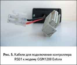 Кабели для подключения контроллера RS01 к модему GSM1208 Enfora