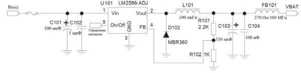 Рекомендованная схема питания SIM7600E с использованием DC/DC-преобразователя