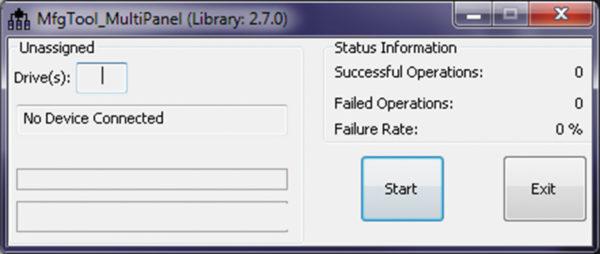 Окно для работы со средством MfgTool, которое используется для загрузки подписанного кода на устройство