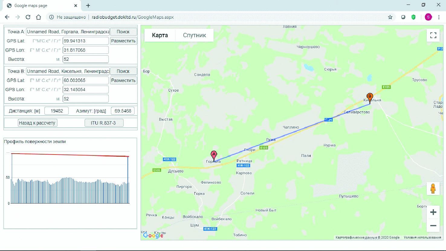 Карта местности с геомаркерами беспроводной трассы 10 Гбит/c длиной 19 482 м