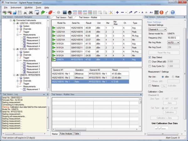 В окне ПО для анализа мощности Agilent N1918A отображается несколько списков, что позволяет одновременно контролировать более 20 USB-датчиков мощности