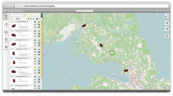 Режим местоположения объектов наблюдения в режиме реального времени с отображением объектов на карте