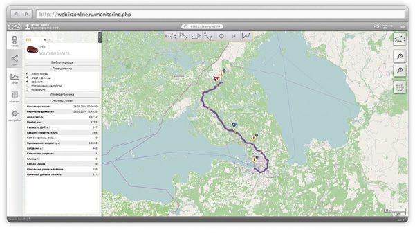Суточный трек автомобиля с привязкой к карте с местами стоянок, остановок и мини-экспресс отчет за выбранный интервал времени