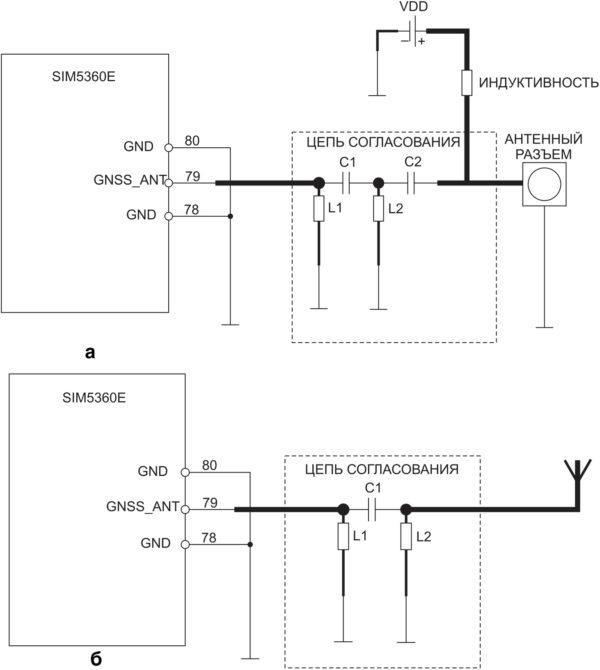 Схема включения GPS/ГЛОНАСС-антенны
