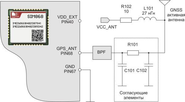 Цепи питания активной антенны GNSS при ее подключении к SIM868