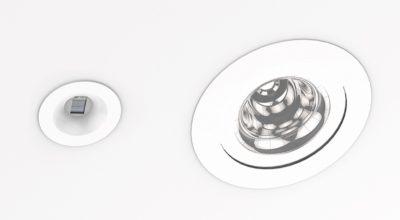 Потолочная точка доступа Li-Fi (слева) и светодиодный светильник (справа)