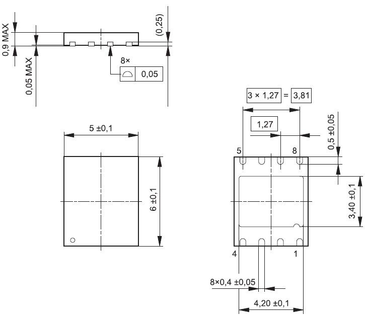 Габаритные размеры SIM-чипа VQFN-8