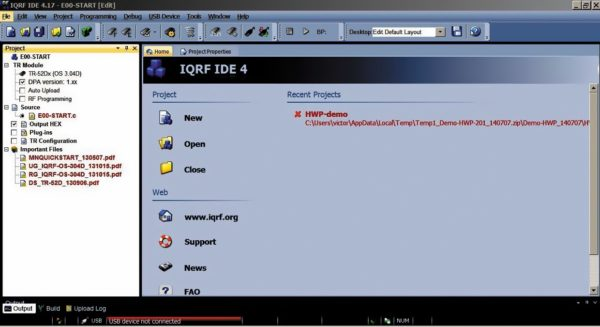 Главное окно программы IQRF IDE