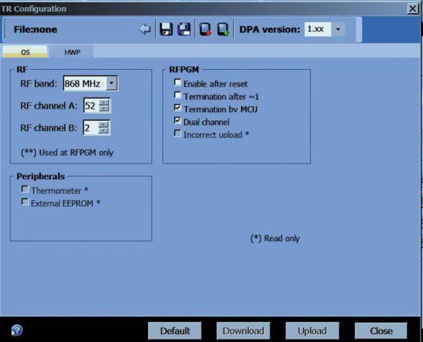 Окно программы IDE для конфигурирования параметров DPA
