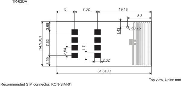 Расположение выводов внешнего интерфейса трансиверов в конструктиве SIM-карты