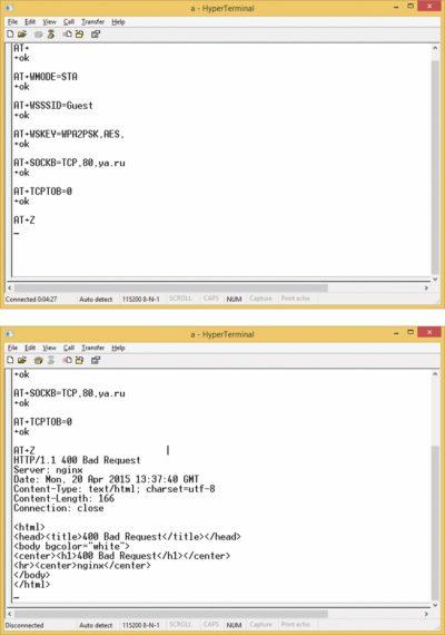 Окно работы в качестве ТСР-клиента и клиента Wi-Fi