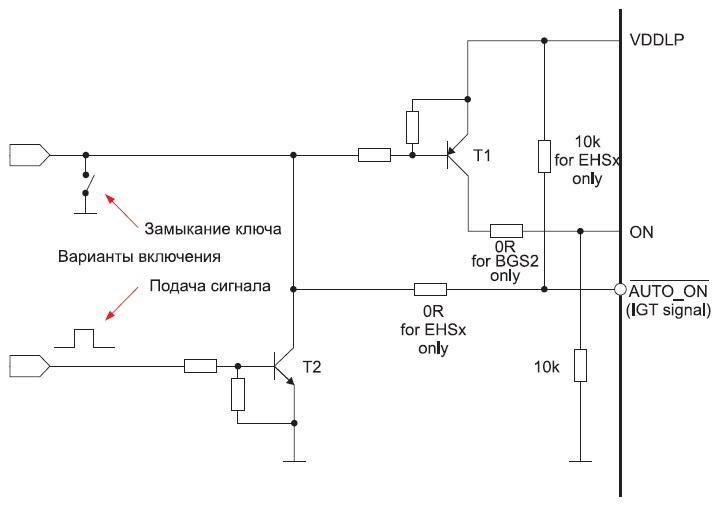 Схема включения модулей BGS2 и EHS5