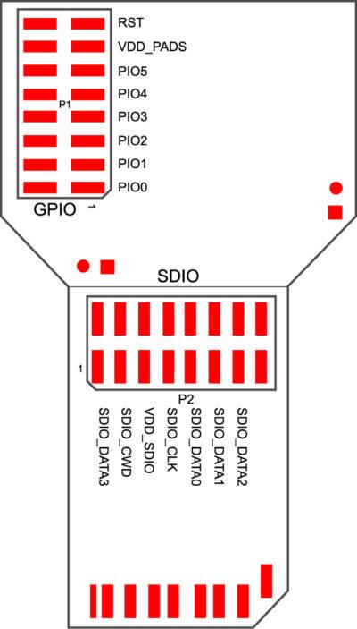 Контактные площадки отладочного комплекта DKWF111