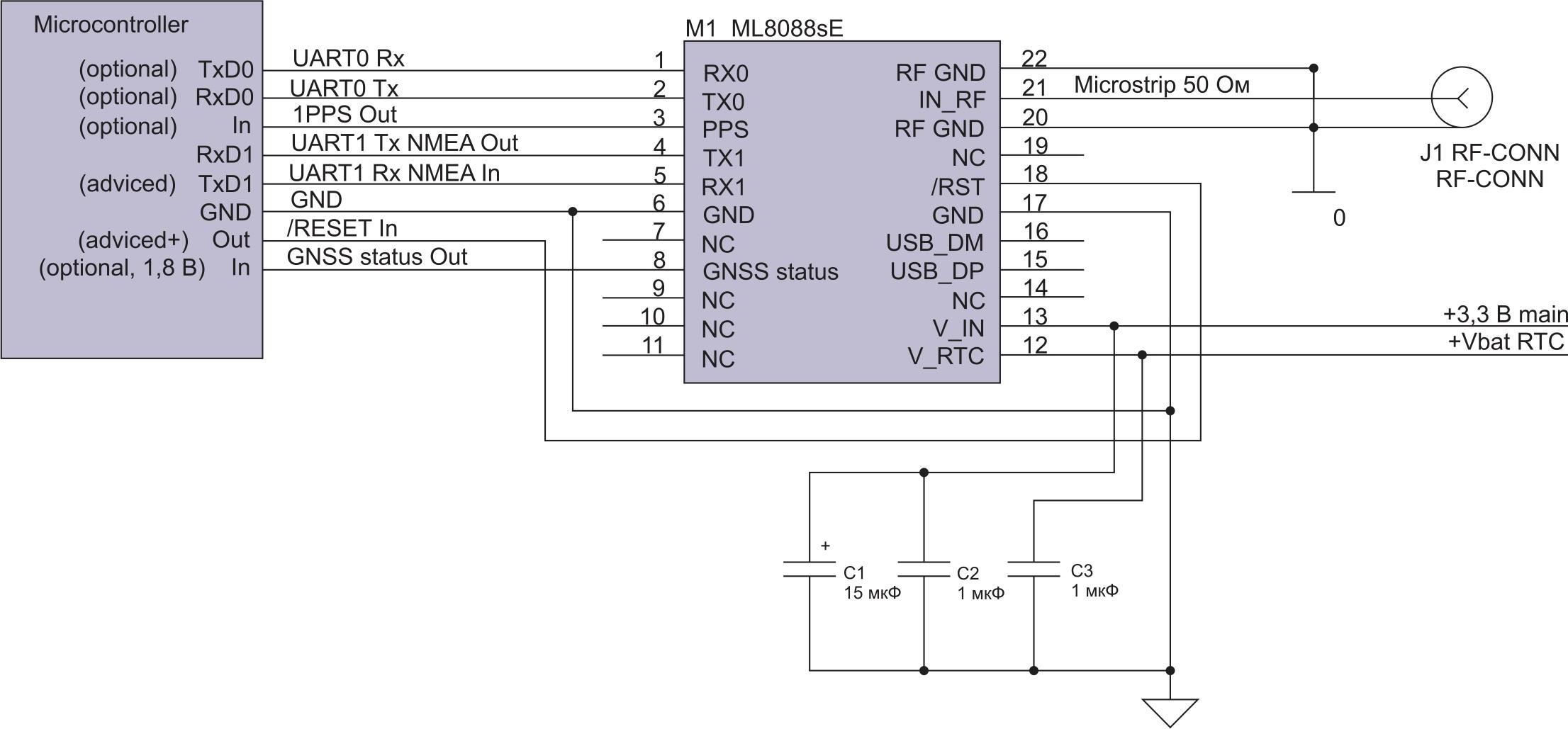 Схема включения микроконтроллера с ML8088sE