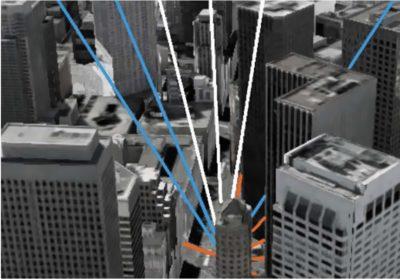 Сигналы спутников, доступные ГНСС-приемнику, окруженному высотными зданиями