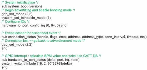 Листинг программы для связи с Bluetooth-тонометром, написанной в формате Bluegiga-script