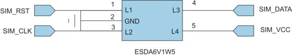 Подключение SIM-считывателя через ESDA6V1W5