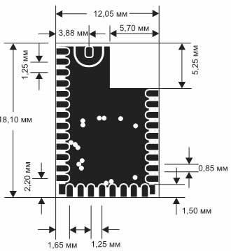 Габаритные размеры модуля BLE112