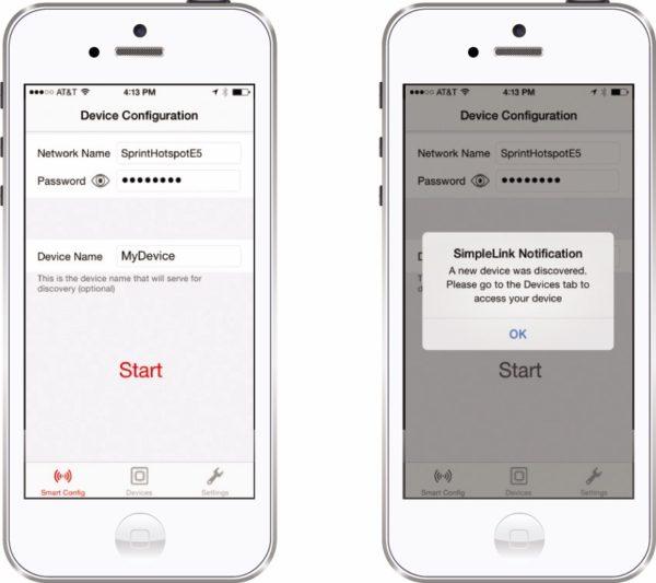 Телефонное приложение SmartConfig от TI