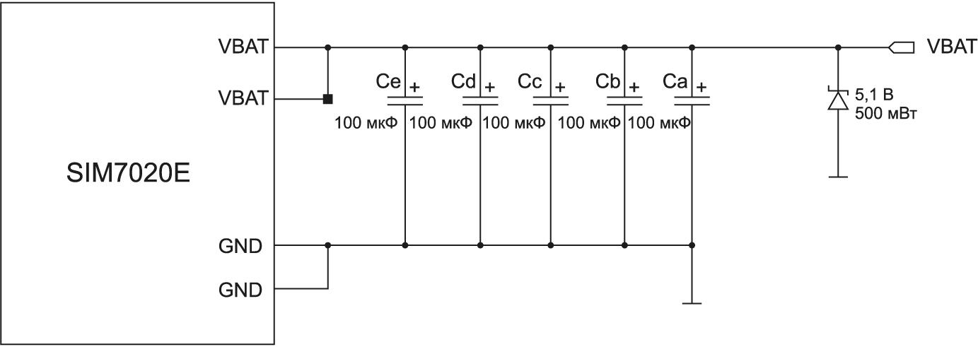 Рекомендуемая схема питания SIM7020E