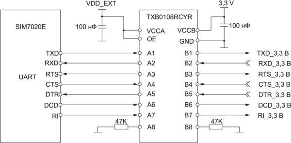 Рекомендованная схема согласования уровней SIM7020E