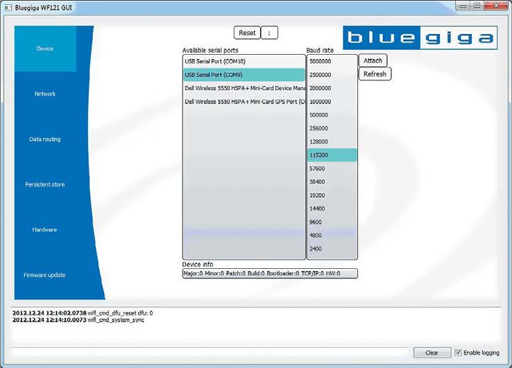 Окно Device программы Wi-Fi GUI