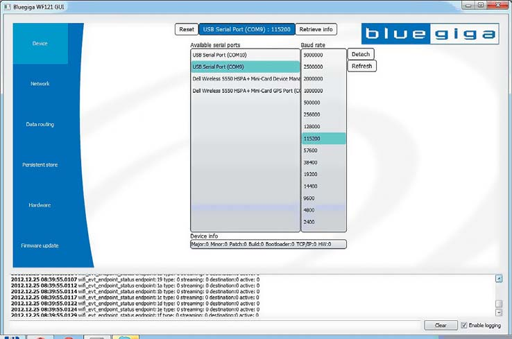 Программа Wi-Fi GUI. Окно выбора параметров соединения с модулем