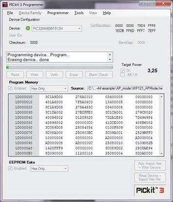 Окно программы PICkit 3.  Перепрошивка модуляWF121