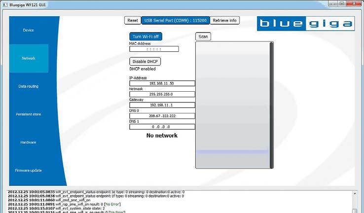 Окно вкладки Network программы Wi-Fi GUI