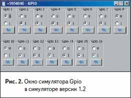 Окно симулятора Gpio в симуляторе версии 1.2